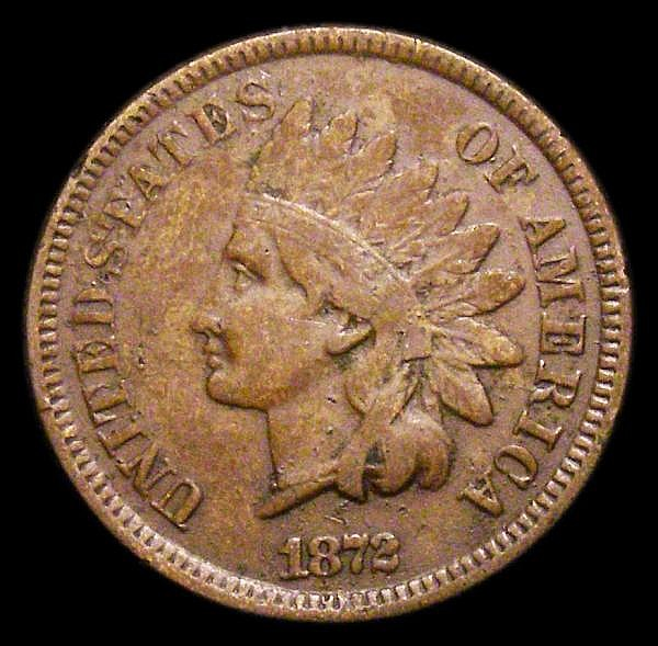 USA One Cent 1872 Heavy date, 18 touch, Breen 1982 approaching VF with some spots and thin scratches
