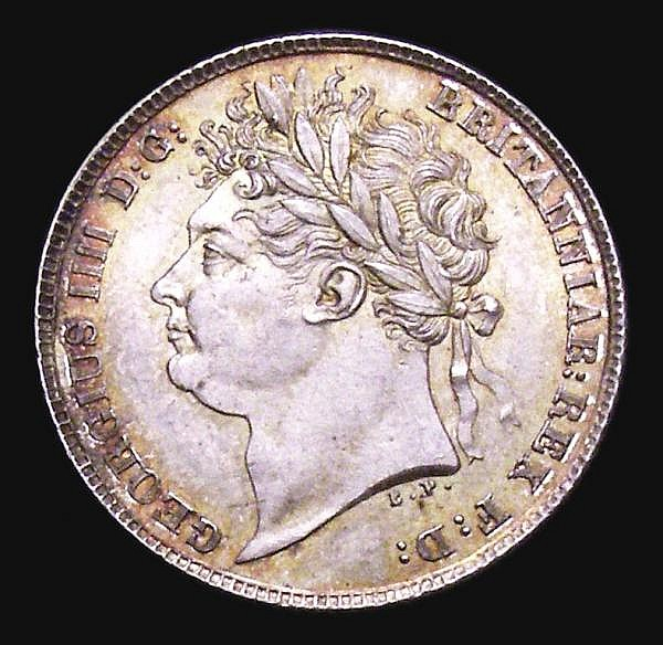 Sixpence 1824 ESC 1657 UNC/AU and beautifully toned with very minor cabinet friction