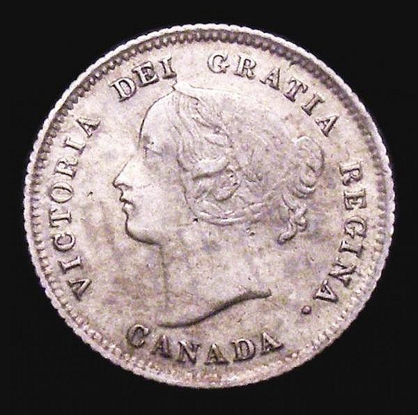 Canada 5 Cents 1875H Small date VF, Very rare