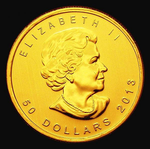 Canada 50 Dollars 2013 with Maple Leaf security feature Gold One Ounce KM#1488 Lustrous UNC