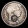 Costa Rica 2 Reals undated (1849-1857) Countermark on GB 1819 George III Shilling KM#93 Countermark NVF, host coin VG, Rare