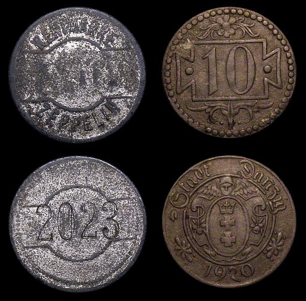 Danzig (2) 10 Pfennigs (2) 1932 KM#152 Good Fine, 1920 Token Coinage in Zinc KM#Tn1 Fine or better, along with Zeppelin Canteen Token c.1914 About Fine