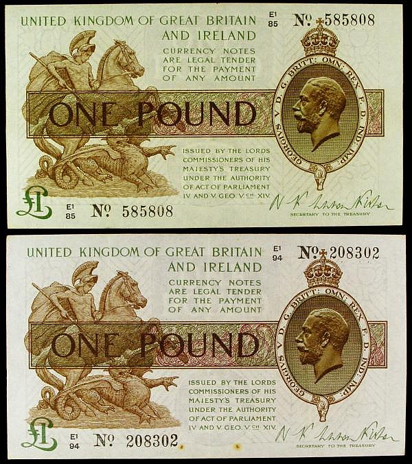 One Pound Warren Fisher T31 (2) E1/85 585808 EF, E1/94 208302 VF with a couple of rust spots