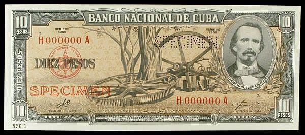 Cuba 10 pesos De La Rue SPECIMEN No.61, dated 1960 series H000000A, signed Che (Che Guevara), Pick88s3, UNC