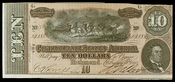Confederate States of America $10 dated 1864 9th series plate G No.84588, Pick68, tiny pinhole at left, GEF