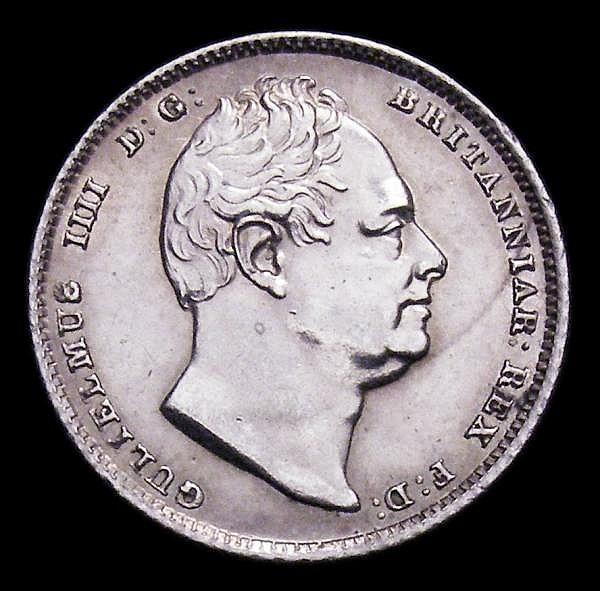 Sixpence 1837 as ESC 1670 with BR of BRITT double struck Bright EF