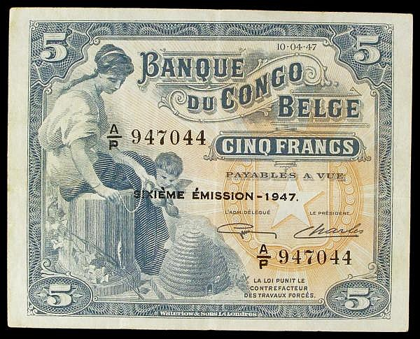 Belgian Congo 5 francs dated 10-4-1947, 6th series A/R 947044, Pick13Ad, good Fine