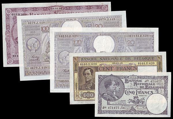 Belgium (5) 100 Francs 1924 Pick 95, 100 Francs 1938 Pick 107, 100 Francs 1943 Pick 112, 100 Francs 1945 Pick 126, 5 Francs 1922 Pick 93 in mixed grades to VF