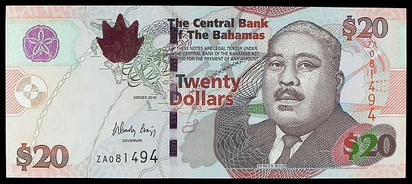 Bahamas $20 issued 2010, a scarce replacement series ZA 081494, Sir Milo B. Butler portrait, Pick74Ar, UNC