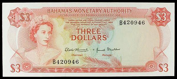 Bahamas $3 issued L.1968 series B420946, QE2 portrait at left, Pick28a, UNC