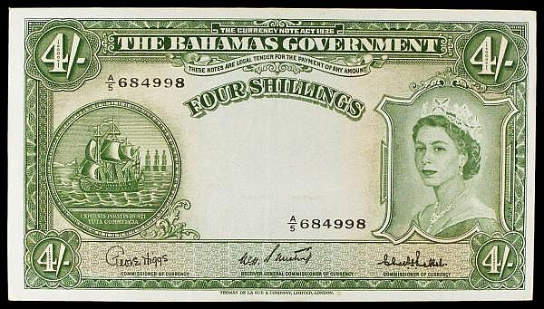 Bahamas 4 shillings issued 1953 series A/5 684998, QE2 portrait at right, Pick13c, VF to GVF