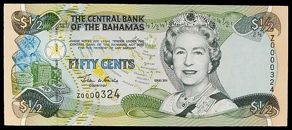 Bahamas 50 cents issued 2001 QE2 portrait, scarce low number replacement Z0000324, Pick68r, UNC