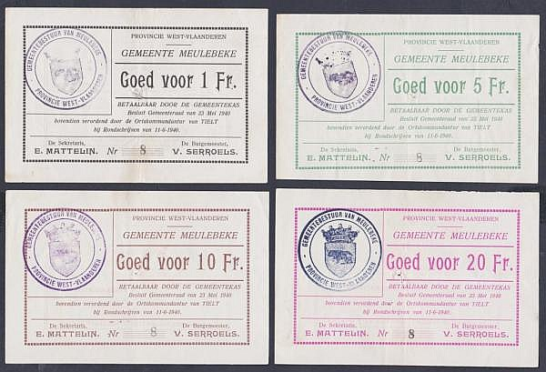 Belgium local issues (4) Meulebeke 1 franc, 5 francs, 10 francs and 20 francs all dated 11th June 1940, all with matching very low serial No.8, staple hole at centre (for cancellation), VF to GVF