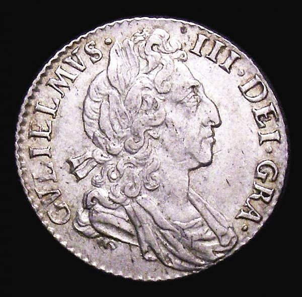 Sixpence 1698 Plumes ESC 1575 NEF the reverse with a few flecks of darker tone, Rare