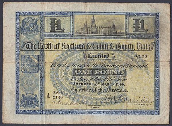 Scotland, The North of Scotland & Town & County Bank Limited 1 dated 2nd March 1914 series A 0996/0146, Picks629, 3 pinholes, Fine