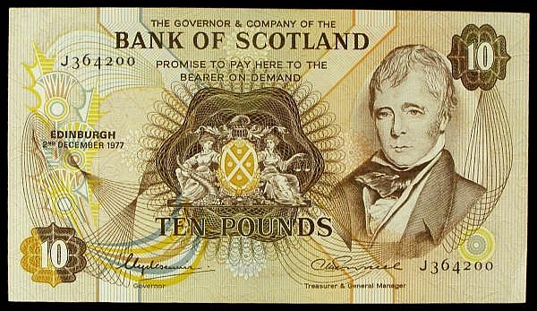 Scotland, Bank of Scotland 10 dated 2nd December 1977 series J364200, Pick113a, EF+