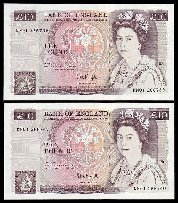 Ten pounds Kentfield (2) B360, a consecutively numbered pair very first series KN01 266739 GEF and KN01 266740 UNC