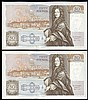 Fifty pounds Gill B356 (2) a consecutively numbered pair series D71 666651 & D71 666652, Pick381b, about UNC to UNC