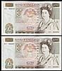 Fifty pounds Gill B356 (2) a consecutively numbered pair series D71 666649 & D71 666650, Pick381b, about UNC to UNC