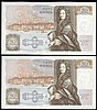 Fifty pounds Gill B356 (2) a consecutively numbered pair series D71 666655 & D71 666656, Pick381b, about UNC to UNC