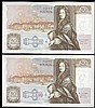 Fifty pounds Gill B356 (2) a consecutively numbered pair series D71 666653 & D71 666654, Pick381b, about UNC to UNC