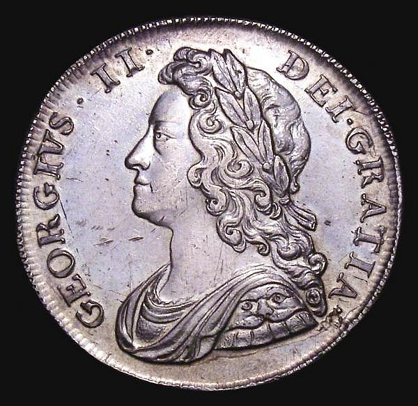 Halfcrown 1739 Roses ESC 600 GVF toned the obverse with some contact marks and adjustment lines