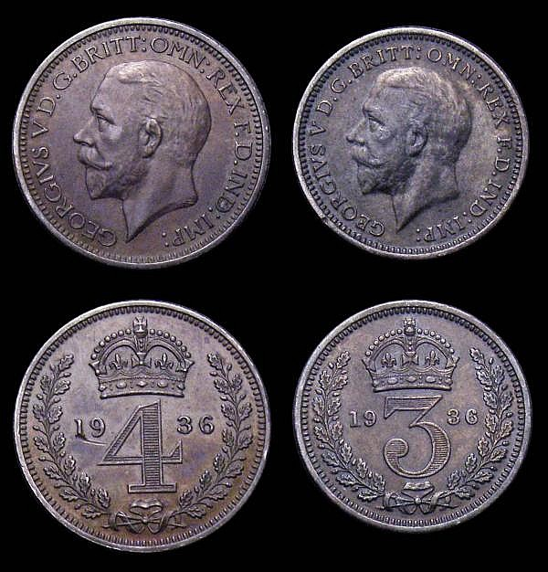 Maundy Set 1936 ESC 2553 GEF to UNC with a deep and matching tone, the Fourpence with a surface mark below the 19 of the date, the sets of this year were distributed by Edward VIII