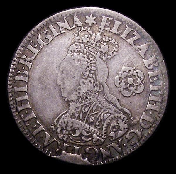 Sixpence Elizabeth I 1562 Milled issue, Decorated Dress S.2595 mintmark Star, Fine with old tooling
