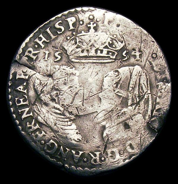 Sixpence Philip and Mary 1554 S.2505 Near Fine for wear with many contact marks and scratches on either side