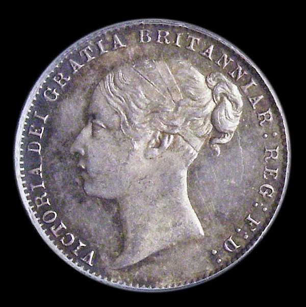 Sixpence 1877 No Die Number ESC 1732 UNC toned, slabbed and graded LCGS 80