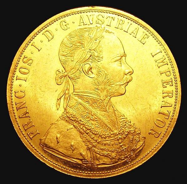 Austria 4 Ducats 1896 KM#2276 EF and lustrous with some contact marks