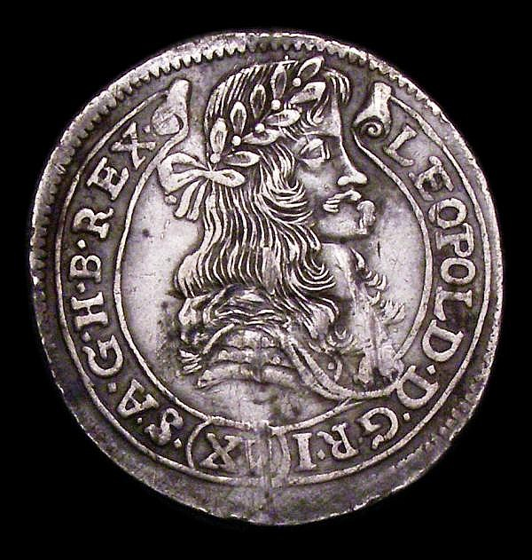 Hungary 15 Krajczar 1678 KB, 8 in date overstruck , the underlying figure unclear, KM#175 VF/NVF with some adjustment lines