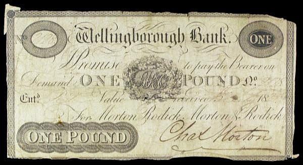 Wellingborough Bank 1 dated 1825 series No.2128 for Morton, Rodick, Morton & Rodick, Congreve duty stamp on reverse, Outing 2294e, clipped with small holes & edge wear, VG