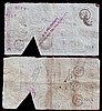 Stamford, Spalding and Boston Banking Company 5 (2) dated 1901 series L8039 and 1904 series M1770, triangular cut cancelled, (Outing 2036f) numerous Post Office & bank stamps,  about Fine