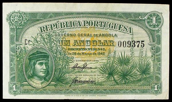 Angola 1 angolar dated 28th March 1942 series Cf 009375, Pick68a, VF