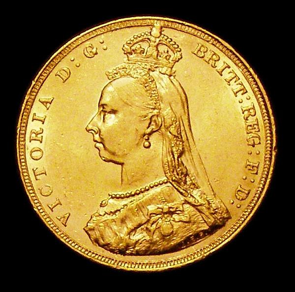 Sovereign 1887M Jubilee Head First Bust S.3867A GEF and lustrous with some minor contact marks