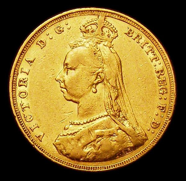 Sovereign 1887M Jubilee Head S.3867A VF/NVF