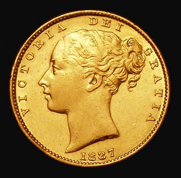 Sovereign 1887M Shield Reverse Marsh 68 NEF/EF and lustrous, the portrait lightly rubbed, Very Rare