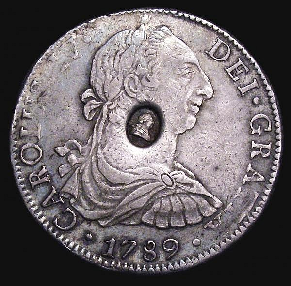 Dollar George III Oval Countermark on 1789 Mexico City 8 Reales ESC 129 countermark GVF, host coin GF