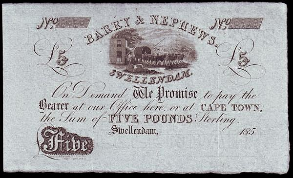 South Africa 5 Pounds unissued remainder Capetown, Barry & Nephews 185x EF