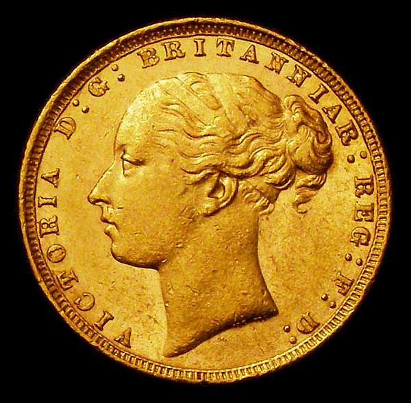 Sovereign 1876 George and the Dragon Marsh 88 Lustrous EF with some contact marks and small rim nicks