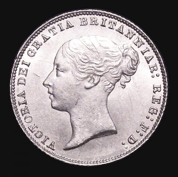 Sixpence 1867 ESC 1717 Davies 1070 dies 2A Die Number 8 UNC and lustrous with a hint of gold tone, Very Rare in this grade