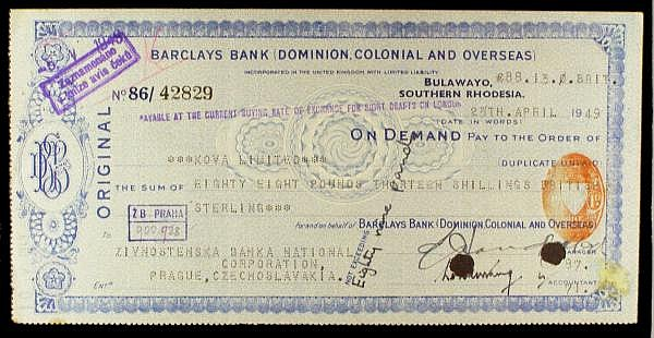 Southern Rhodesia Barclays Bank (Dominion, Colonial & Overseas) bank cheque dated Bulawayo 1949, to Zivnotenska Bank National, Prague, Czechoslovakia, hole cancellations, Czech revenue stamp on reverse, about EF