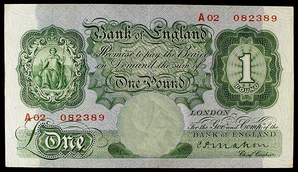 One pound Mahon B212 issued 1928, scarce 1st production series A02 082389, Pick363a, good Fine