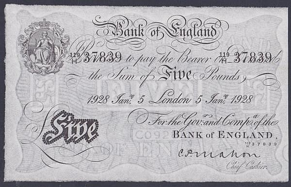 Five pounds Mahon white B215 dated 5th January 1928 series 119/H 37839, pressed EF