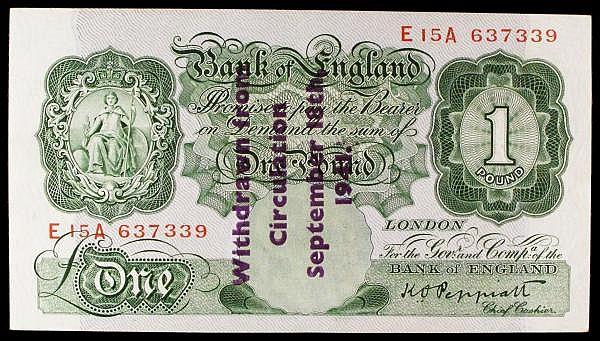 One Pound Peppiatt. B239C. Guernsey overprint. E15A 637339 Good VF or better