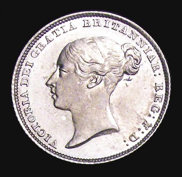 Sixpence 1854 ESC 1700 GEF/AU and lustrous, extremely rare, and by some distance the finest example we have handled, rated R3 by ESC must surely be R5 in this grade