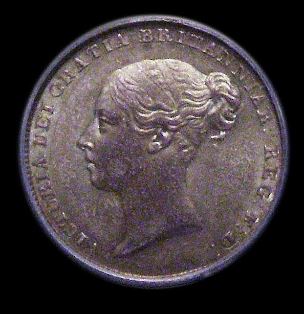 Sixpence 1839 ESC 1684 UNC with an attractive green and gold tone, slabbed and graded LCGS 80, Ex-Cheshire Collection, formerly in a NGC holder and graded MS64 (no NGC ticket)