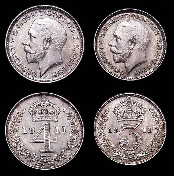 Maundy Set 1911 ESC 2527 GEF to UNC with matching tone, the Penny with small rim nicks