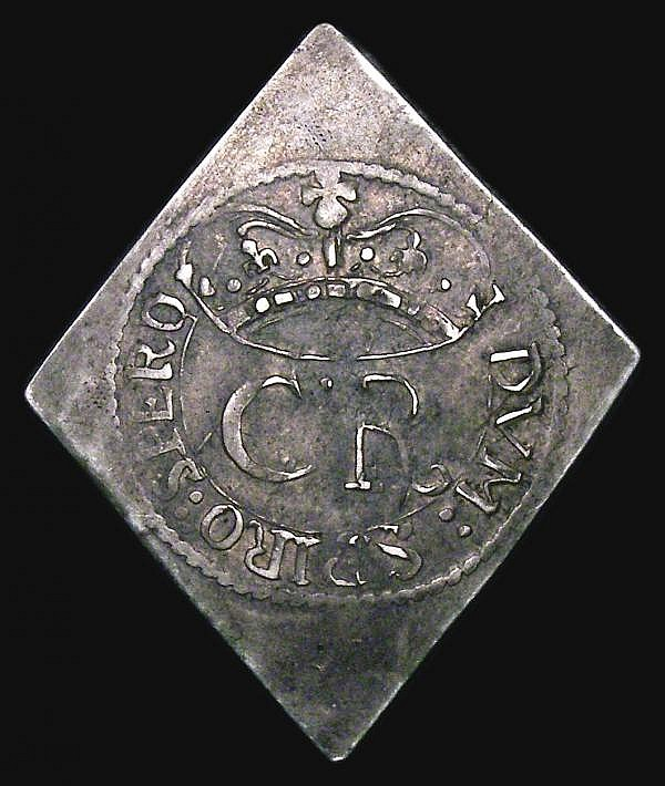 Shilling Charles I 1648 Pontefract besieged, lozenge-shaped with XII to right of castle, dividing PC S.3149 VF with a pleasing grey tone, nicely centred with an even strike for this issue, exhibiting much eye appeal, Very rare and seldom encountered